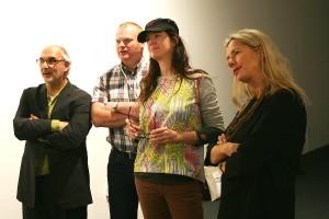 John Moores Painting Prize Judges l-r Yentob, Shaw, Banner, Blaswick