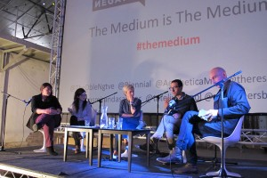 (L-R) Cherie Federico, Rachael Jones, Miranda Sawyer, Francesco Manacorda, Edgar Schmitz. The Medium, Liverpool Biennial 2012, image courtesy The Double Negative
