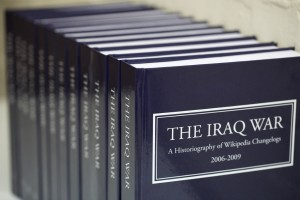 """The Iraq War: A History of Wikipedia Changelogs"": a twelve-volume set of all changes to the Wikipedia article on the Iraq War. James Bridle"