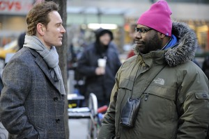 On the set of Shame: Michael Fassbender (l) and Steve Mcqueen (r)