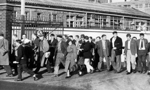 Leaving the factory gates: workers at the Ford Motor Company, Dagenham, 1961 (the Guardian)