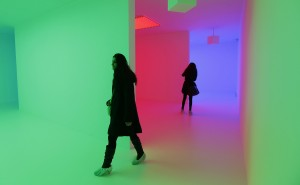 """Chromosaturation"" from 1965-2012 by Carlos Cruz-Diez, Light Show, the Hayward Gallery, London. (Suzanne Plunkett/Reuters)"