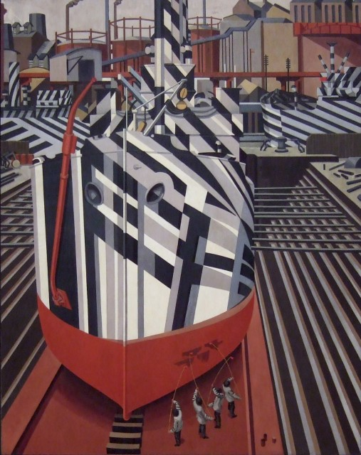 Edward Wadsworth, Dazzle-ships in Drydock at Liverpool. 1919. National Gallery of Canada