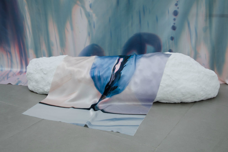 Roman Fountain (dimensions variable), (detail) Celia Hempton, 2014, digital print on silk satin, 60 cm  x 72 cm, silk paint on silk satin, 275 cm x 290cm, acrylic paint on wall Katie Cuddon, 2014, painted ceramic, 125 cm x 27 cm x 32 cm   photography by Damian Jacques