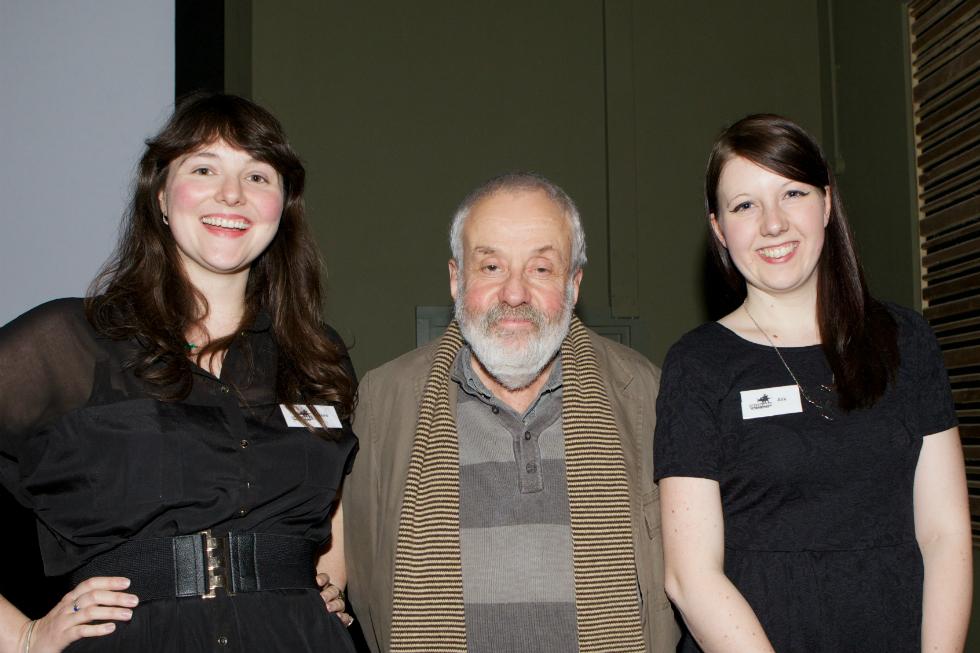 L-R: Flora Bradwell, Mike Leigh, Alix Taylor. Greenhorn Short Film Festival