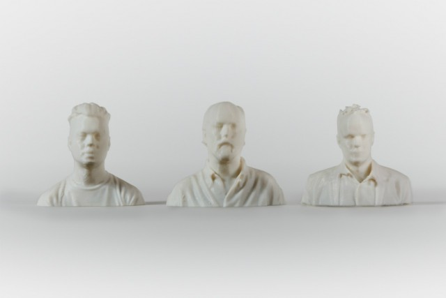 The Age of Earthquakes. Douglas Coupland, Hans Ulrich Obrist, Shumon Basar. The three authors were 3D printed into miniature faux-marble busts. Photograph by Marc Falk