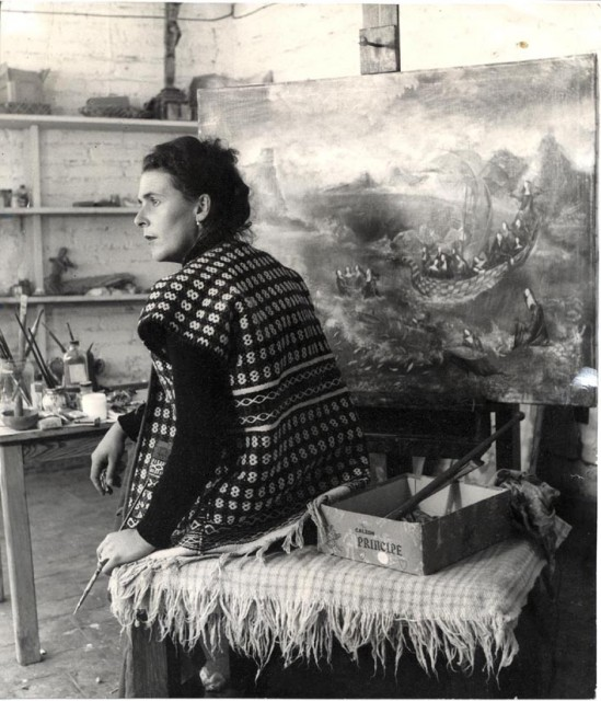 Leonora Carrington in her studio