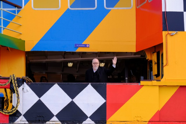 Sir Peter Blake has dazzled a Mersey Ferry as part of the WW1 centenary, co-commissioned by Liverpool Biennial,  14-18 NOW and Tate Liverpool Photo: Mark McNulty