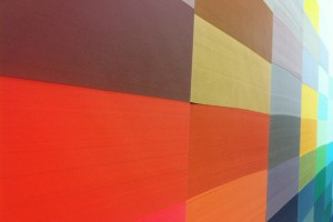 G. F. Smith factory in Hull: this paper wall was created by members of staff and represents all 50 shades of Colorplan