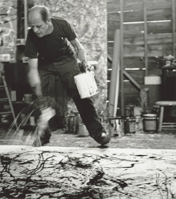 Jackson Pollock, 1950.  Photograph by Hans Namuth Courtesy Center for Creative Photography, University of Arizona © 1991 Hans Namuth Estate
