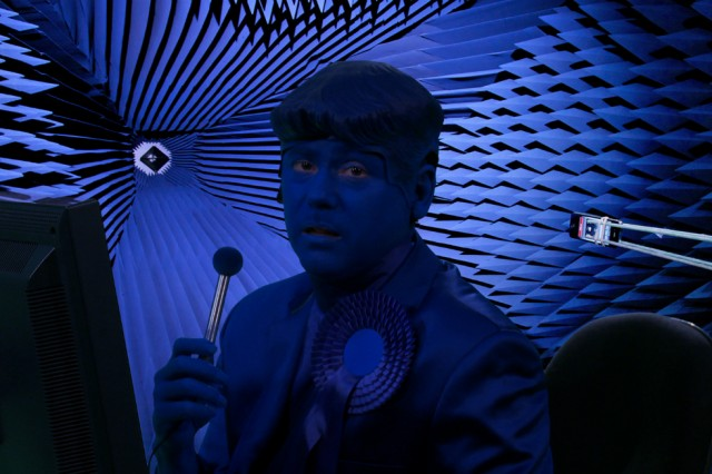 Better Blue Man (still): Jennet Thomas, THE UNSPEAKABLE FREEDOM DEVICE, until 22 August 2015 at the Grundy Gallery, Blackpool