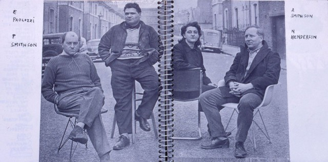 The Independent Group: from left to right: architect Peter Smithson, artist Eduardo Paolozzi, architect Alison Smithson and artist Nigel Henderson
