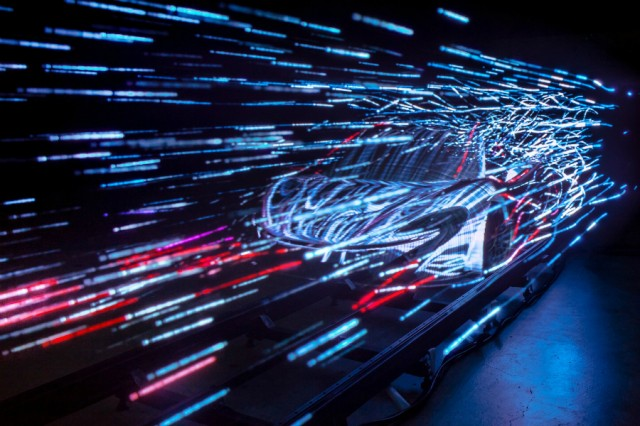Video still from McLaren's P1 launch. A stop-motion, long exposure photography light painting animation. Image courtesy Marshmallow Laser Feast