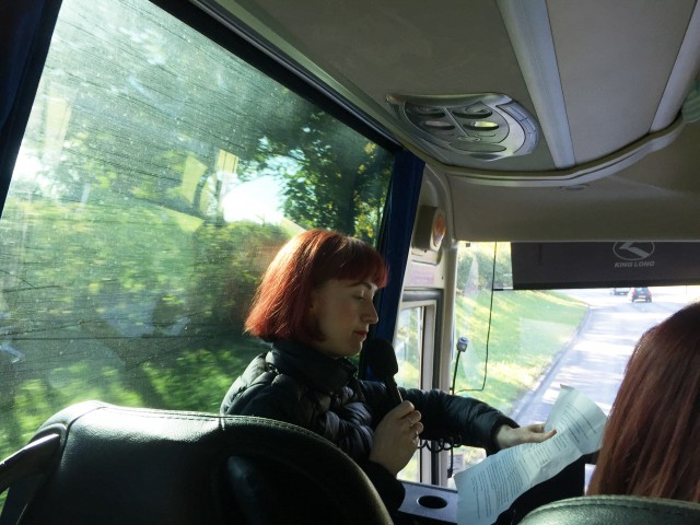 Elspeth Mitchell leading About Time tour bus in Leeds