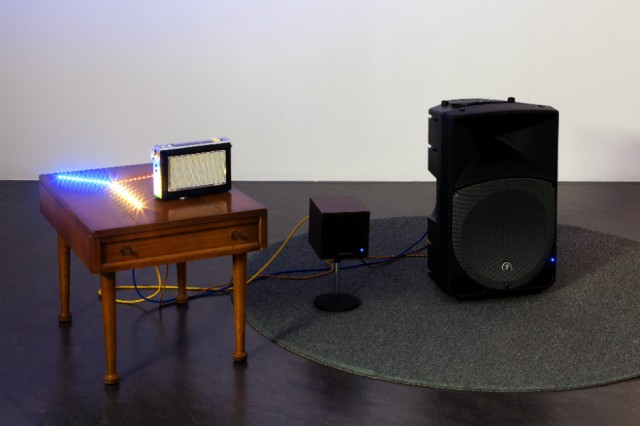 Haroon Mirza, Falling Rave, 2014 wooden side table, circuitry control box, LED strips, mackie speaker, behringer speaker, radio (w)2m x (d)1m x (h)1m   Courtesy hrm199 Ltd and Lisson Gallery. Photocredit: Nam June Paik Art Center/ Sindae Kang
