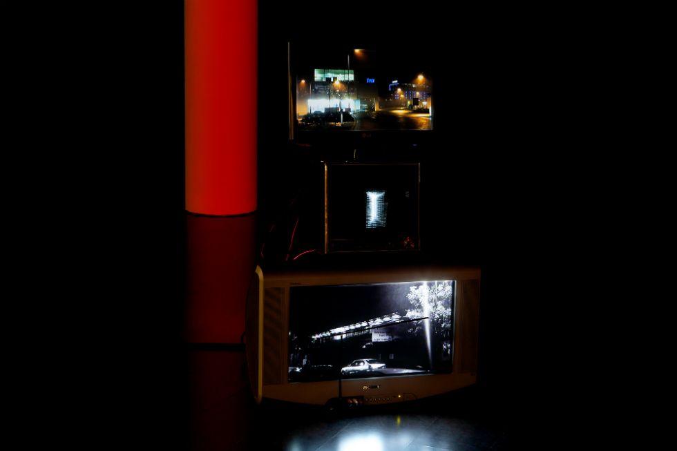 Tescotrain (Homage to Guy Sherwin), 2012 3 TVs, 2 media players, Arduino, LED, relay internal dimensions 110cm x 50cm x 80cm Courtesy hrm199 Ltd and Lisson Gallery. Photocredit: Nam June Paik Art Center/ Sindae Kang