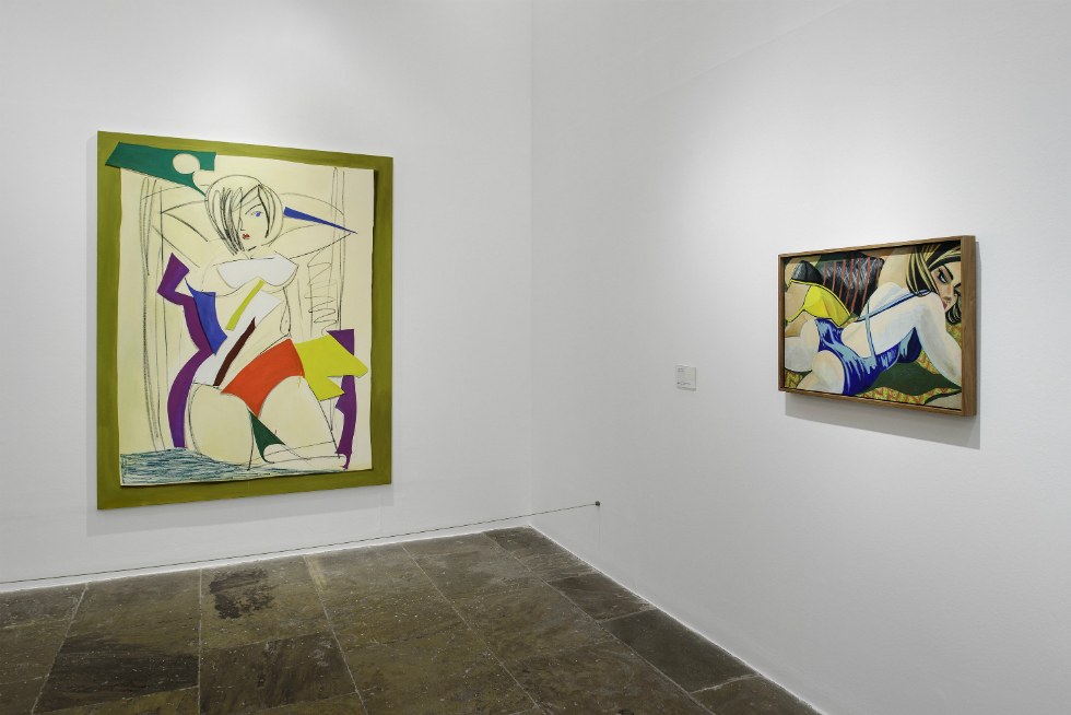 Large Bather with Paper Cutouts 2016 (left) and Bathers 2006 (right) by Ella Kruglyanskaya on display at Tate Liverpool from 18 May until 18 September 2016 © Tate Liverpool, Roger Sinek