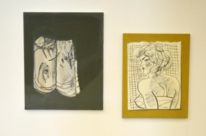 Sideways Face (Paper Ruin) 2016 (left) and Untitled (Miami II) 2013 (right) by Ella Kruglyanskaya on display at Tate Liverpool from 18 May until 18 September 2016 © Tate Liverpool, Laura Deveney