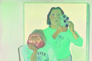 Maria Lassnig, 1919-2014 Double Self-Portrait with Camera 1974 (Doppelselbstporträt mit Kamera) 1974 Oil paint on canvas 1800 x 1800 mm   © Maria Lassnig Foundation © Artothek of the Republic of Austria, permanent loan, Belvedere Vienna (detail)