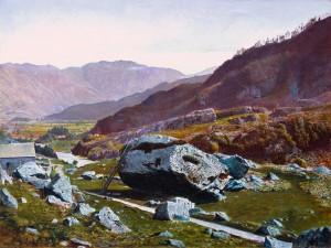 Bowder Stone, Borrowdale c.1863-8 by Atkinson Grimshaw 1836-1893