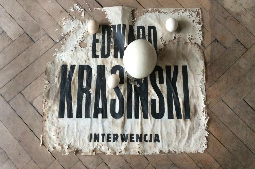 A disintegrating exhibition poster. Edward Krasiński's studio apartment, Warsaw, Poland, 2016