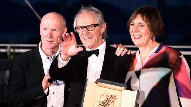 Producer Rebecca O'Brien (right) with Ken Loach (centre) at Palme D'Or Award photocall, 69th Cannes Film Festival, France - 22 May 2016