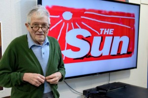 David Hockney's redesigned masthead for The Sun newspaper