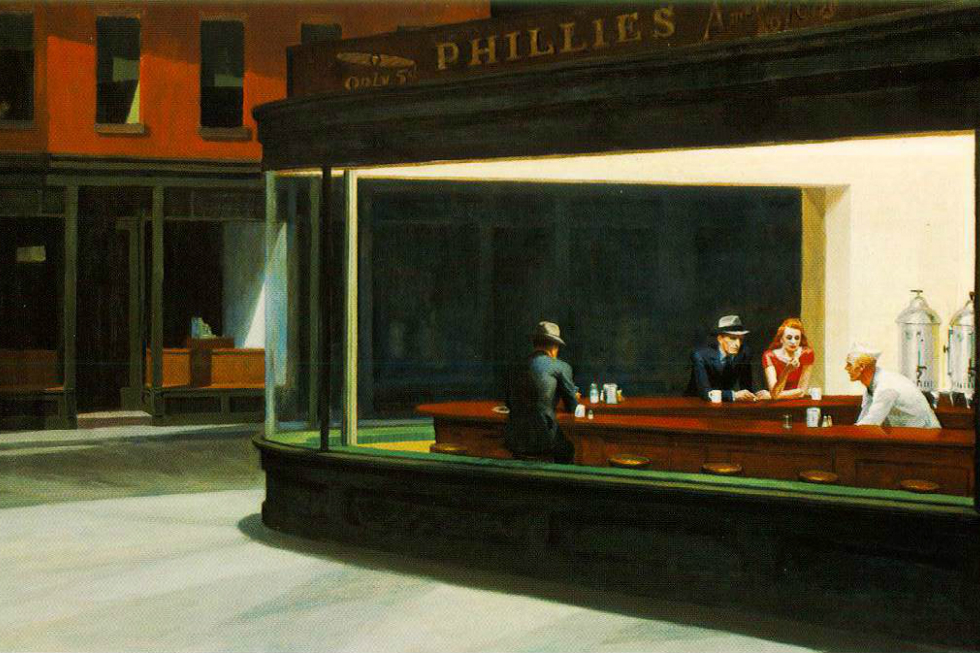 Nighthawks, 1942, painting by Edward Hopper -- via artchive.com