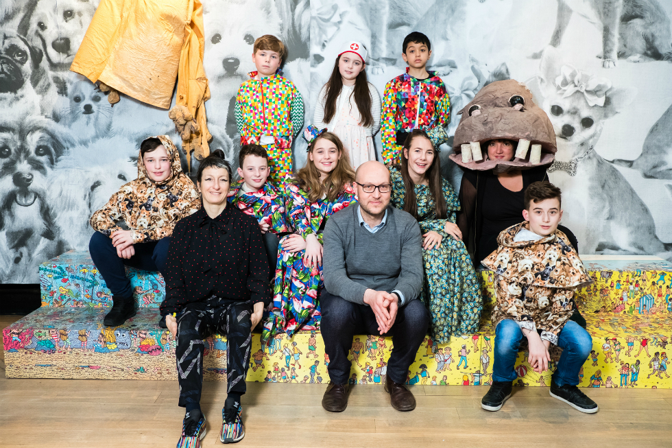 Dogsy Ma Bone cast with artist Marvin Gaye Chetwynd, Mark Doyle (Curator at Touchstones Rochdale) and Polly Brannan (Education Curator at Liverpool Biennial). Photo: Pete Carr