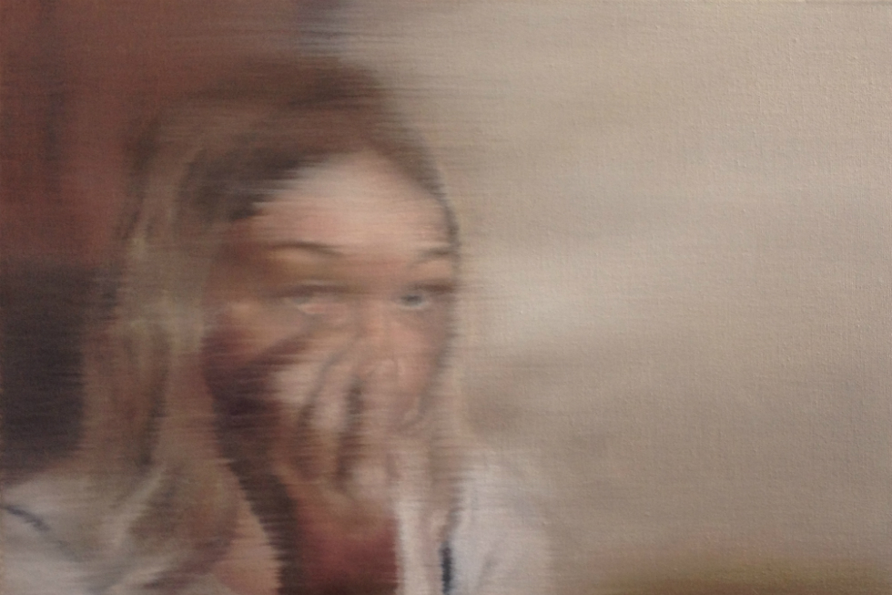 Classof_St Helens - Cherise Foster - 'Is Everyone Looking' Oil on Canvas 14 x 46 x 36cms_slider