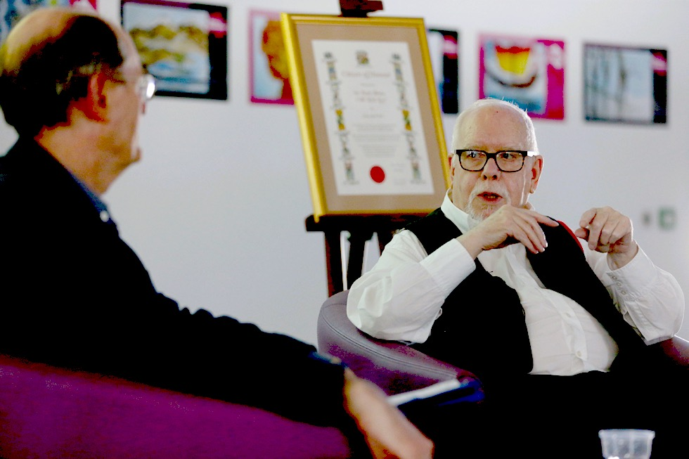 Sir Peter Blake and Richard Cork in conversation at Museum of Liverpool 2017, courtesy Dave Thompson / PA Wire