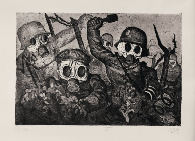 Otto Dix Assault Troops Advance under Gas (Sturmtruppe geht unter Gas vor) 1924 © DACS 2017. Image: Otto Dix Stiftung