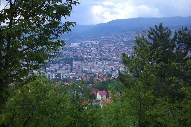 Sarajevo from the hills overlooking the city. Image courtesy Bob Dickinson, 2017