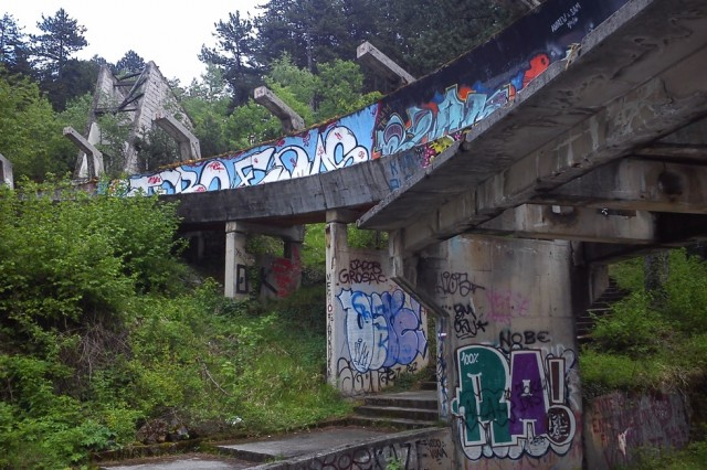 Remnants of the 1984 Winter Olympics bobsleigh run, Sarajevo. Image courtesy Bob Dickinson, 2017