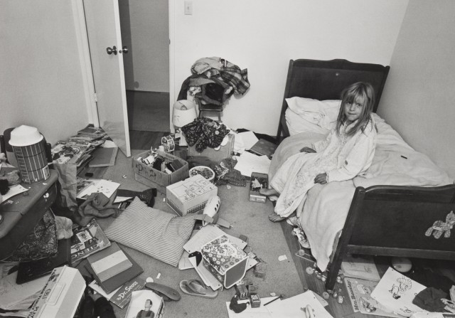"Bill Owens, ""I wanted Christina to learn some responsibility for cleaning her room, but it didn't work"", c. 1973, gelatin-silver print. © Bill Owens, courtesy of Wilson Centre for Photography."