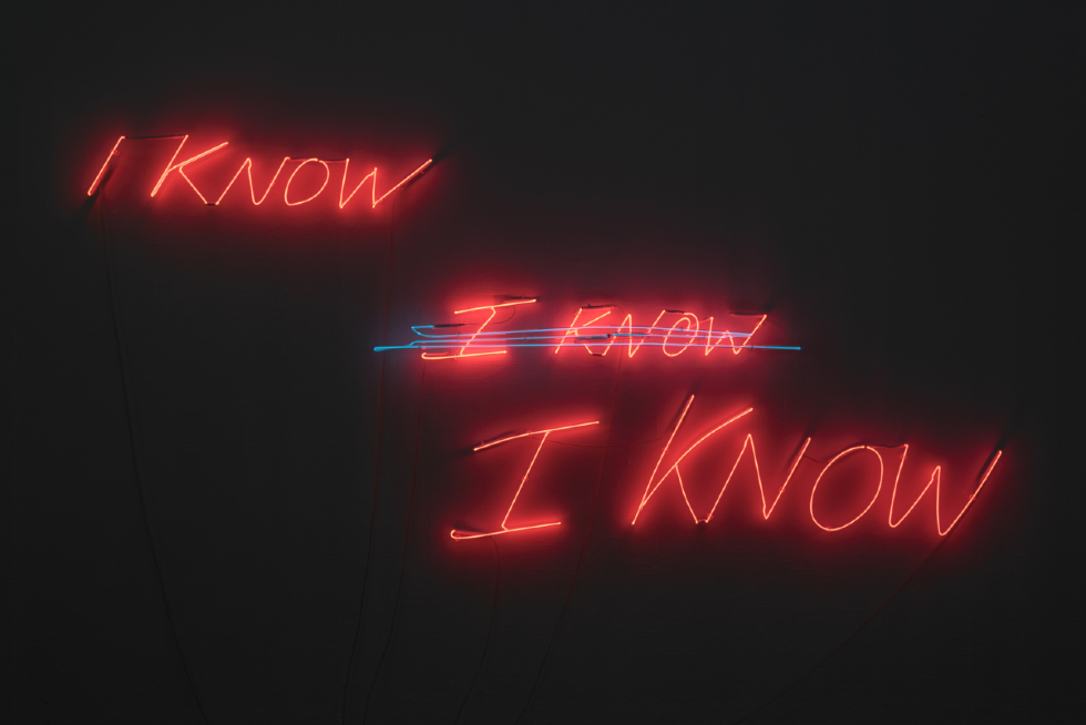 I know, I know, I know (2002). Tracey Emin. Courtesy the Artist. NEON The Charged Line (Installation View). Photo Grundy Art Gallery, Blackpool