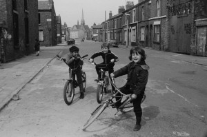 Three lads on bikes, Maud Street and Elaine Street, L8, 1979, courtesy Ian Clegg
