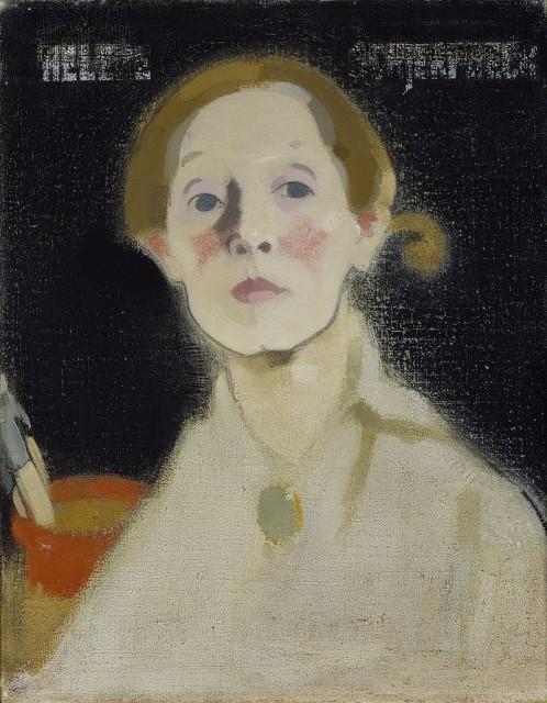 Helene Schjerfbeck-Self-Portrait, Black Background (1915