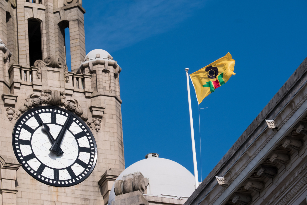 Pan African Flag for the Relic Travellers' Alliance (2021) by Larry Achiampong at the Cunard Building. Photograph by Mark McNulty-web