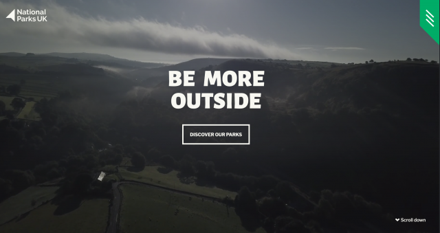 Screenshot, text reads 'Be More Outside' National Parks Trust Website