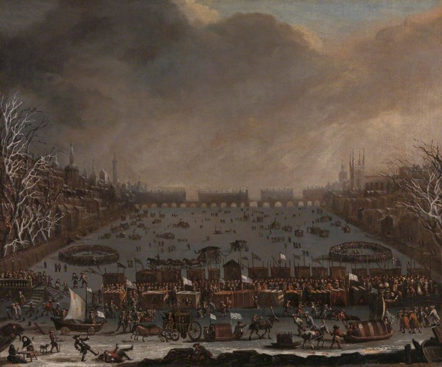 A 'Frost Fair' in London, showing the river Thames frozen over in the Little Ice Age. Unknown, c.1685, Yale Center for British Art
